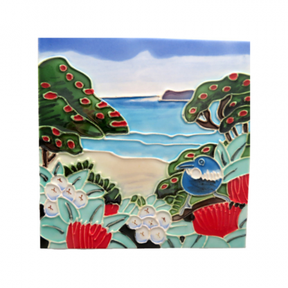 Art Tile Native NZ Bird Tui Pohutukawa