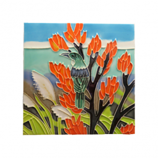 Art Tile Native NZ Bird Tui Harakeke