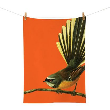 Native NZ Bird Tea Towel Fantail Piwakawaka