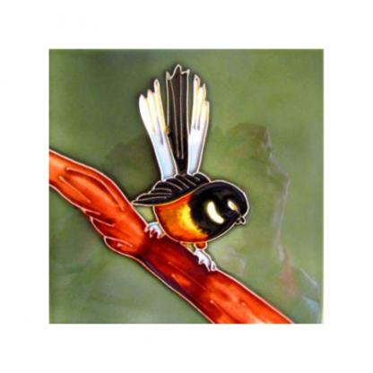 Art Tile Native NZ Bird Fantail Piwakawaka