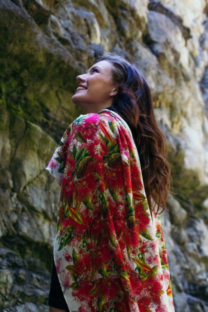Silk Scarf NZ Native Pohutukawa